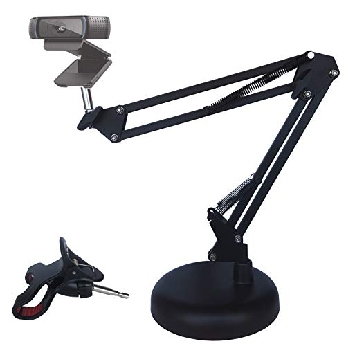 Gulee Desktop Suspension Boom Scissor Arm Stand Holder with Base for Logitech Webcam C922 C930e C930 C920 C615, Adjustable, phone clips stand black