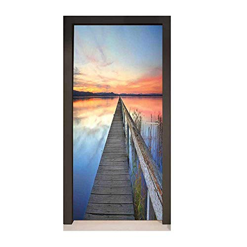 Seascape Self Adhesive Wall Sticker Sunset Reflections on Lake Long Wooden Jetty Waterscape Idyllic Horizon Decorative Door Sticker Peach Blue Umber,W23xH70]()