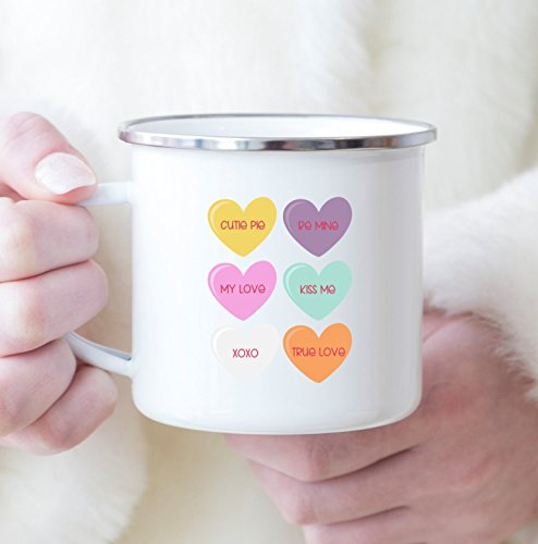 Personalized Conversation Hearts - Conversation Candy Hearts Valentine's Day Coffee Mug Gift Tea Cup White 10 oz