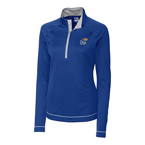 Cutter & Buck NCAA Kansas Jayhawks Women's Long Sleeve Evolve Half Zip Tee, Tour Blue, Medium