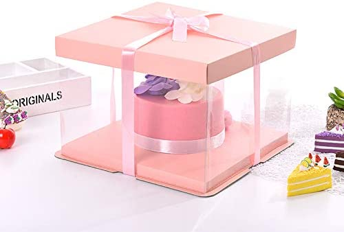 Clear Gift Boxes with lid for Wedding Party and Baby Shower Favors 4Pack PET Clear Box carrier Packing 8.3x 8.3x 6.3 Cake Boxes Transparent Boxes Candy Box clear