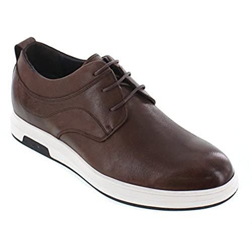 CALTO - J93225-2.4 Inches Taller - Height Increasing Elevator Shoes - Brown Leather Lace-up Casual Shoes
