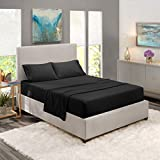 Nestl Bedding Soft Sheets Set - 4 Piece Bed Sheet Set, 3-Line Design Pillowcases - Easy Care, Wrinkle Free - Good Fit Deep Pockets Fitted Sheet - Free Warranty Included - Queen, Black