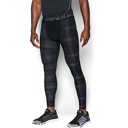 Under Armour Men's HeatGear Armour Printed Compression Leggings, Black/Graphite, X-Large