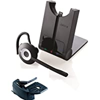 Polycom Compatible Jabra PRO Wireless Headset Bundle | Remote Answerer included | Earwrap - On Ear Model | SoundPoint IP Phones: IP 301, IP 501, IP601