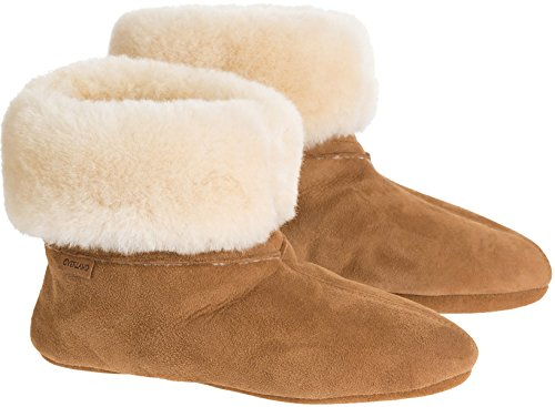 Women's Overland Lily High-Top Sheepskin Slippers, CHESTNUT, Size 11 by Overland Sheepskin Co