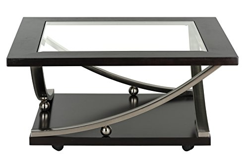Standard Furniture Melrose Square Cocktail Table with Glass Top, Brown ()