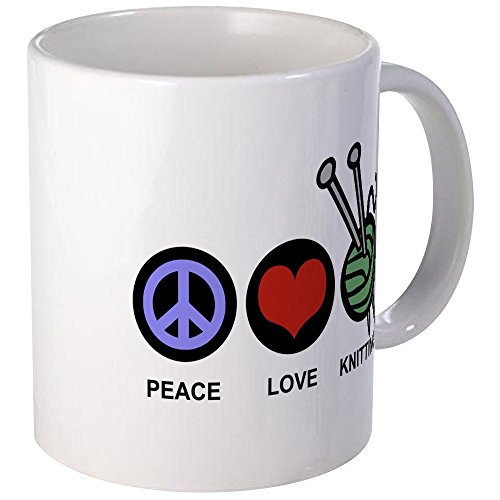 CafePress Peace Love Knitting Mug Unique Coffee Mug, Coffee Cup ()