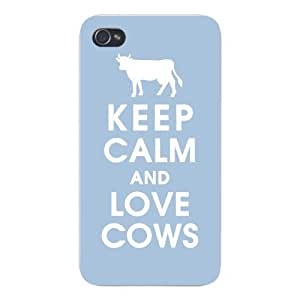 Apple Iphone Custom Case 4 4s White Plastic Snap on - Keep Calm and Love Cows by icecream design