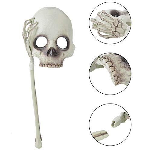 Coxeer Halloween Mask Half Face Mask Creative Skeleton Hand Head Decor Costume Mask -