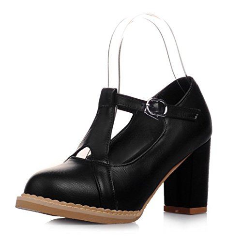 Easemax Womens Sweet Stitching Buckle Strap Mid Chunky Heel Round Toe Low Top Pumps Shoes Black UJkSay