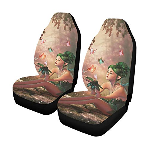 InterestPrint Front Car Seat Covers Set of 2 Design Fairy and Butterflies Fabric Protector Cases for Sedan Truck SUV Van