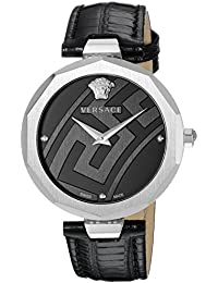 Women's 'Idyia' Swiss Quartz Stainless Steel and Leather Casual Watch, Color:Black (Model: V17010017)