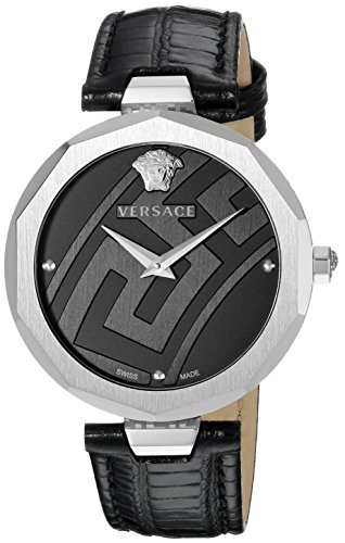 Versace Women's 'Idyia' Swiss Quartz Stainless Steel and Leather Casual Watch, Color:Black (Model: V17010017)