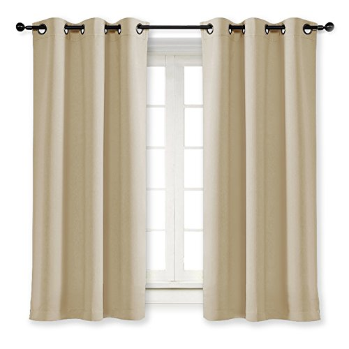 NICETOWN Room Darkening Blind Shade Kids Bedroom Triple Weave Home Decoration Light Blocking Solid Ring Top Curtain/Drape Small Window (Cream Beige, Single Panel, 42 x 63 inch)