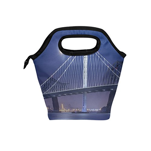 Saobao Insulated Lunch Tote Bag Bay Bridge At Night With Full Moon Handbag Lunchbox Food Container Gourmet Tote Cooler Warm Pouch For School Work Office Travel Outdoor