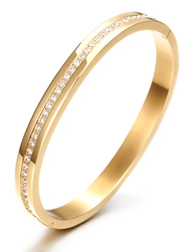 [Wistic 316L Stainless Steel White Cubic Zirconia Bangle Bracelet for Girls (Yellow)] (Diamond Steel Bangle)