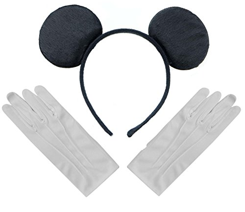 Mickey Mouse Ears With Gloves (Black Mickey Mouse Disney Fancy Dress Ears Headband + Gloves Set)