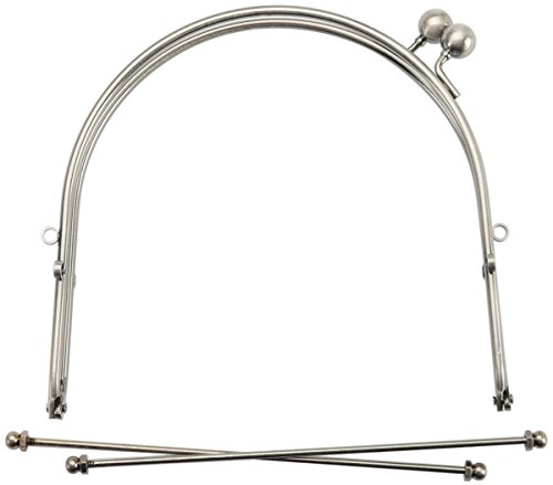Lacis 6-Inch Metal Purse Frame with Ball Clasp and Loops, Antique Silver