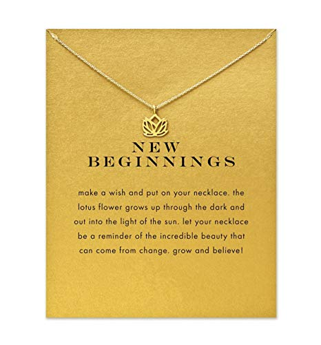 BECEDE Card Necklace Palm Hexagram Lotus Ring Pearl Pendant Chain Necklace with Meaning Card (Lotus)