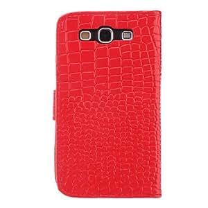 CECT STOCK Grano del cocodrilo de caso completo de cuerpo con Wreah Buckle, soporte y ranura para tarjeta para Samsung Galaxy S3 I9300 (colores surtidos) , Rojo