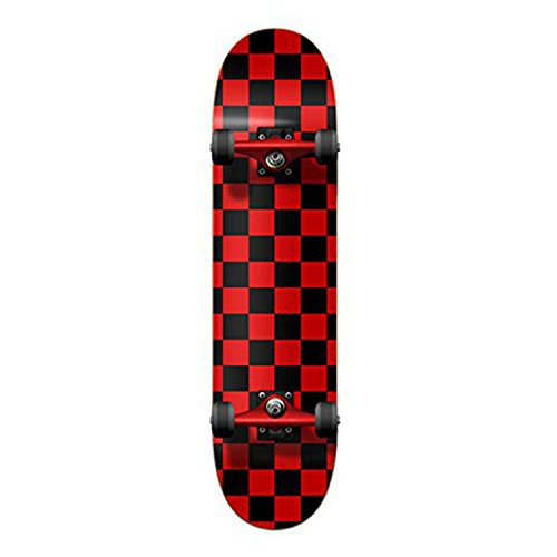 Checker Complete Skateboard (Yocaher Red Checker Complete Skateboard - 7.75