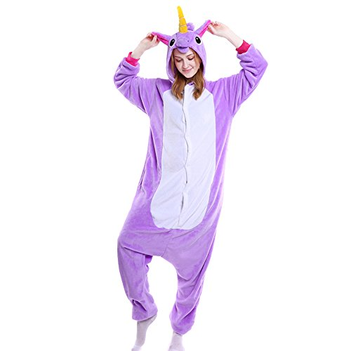Adult Onesies Pajamas Animal One Piece Costumes for Men Women Unisex Teens Purple S