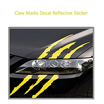 AMOUTOR 4PCS Claw Marks Decal Reflective Sticker, Waterproof Headlight Decal Fit for All The car Models (Yellow): Automotive