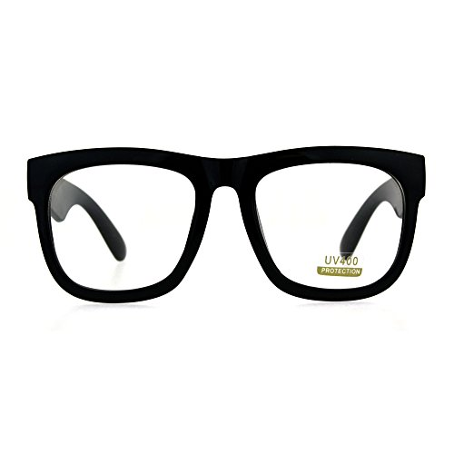 Black Oversized Square Glasses Thick Horn Rim Clear Lens -