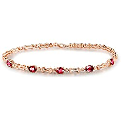 14K Solid Rose Gold Women's Natural Ruby Diamond Bracelet 7 inch length and 1 inch chain