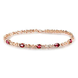 Rose Gold Ruby Diamond Bracelet