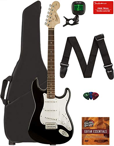 Fender Squier Affinity Series Stratocaster Guitar - Laurel Fingerboard, Black Bundle with Gig Bag, Tuner, Strap, Picks, and Austin Bazaar Instructional DVD
