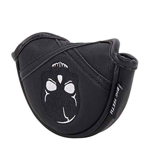 Golf Putter Cover Half Mallet Mini Small Golf Headcover Club Head Protector Magnetic Closure Leather for Scotty Cameron Taylormade Odyssey (Skull)