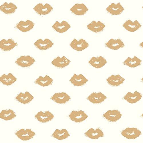 York Wallcoverings RY2721 Risky Business 2 Femme Fatale Removable Wallpaper, Metallic Gold Glitter/White
