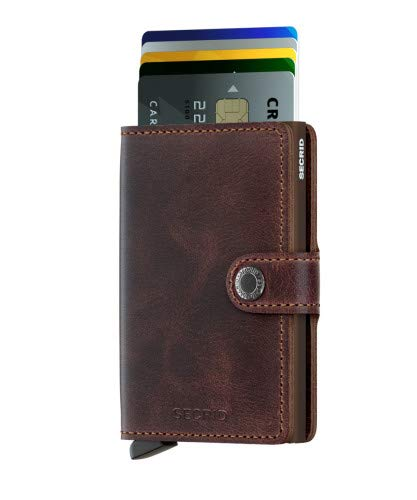 Secrid Mini Wallet, Vintage Chocolate, Genuine Leather with RFID Protection, Holds up to 12 ()