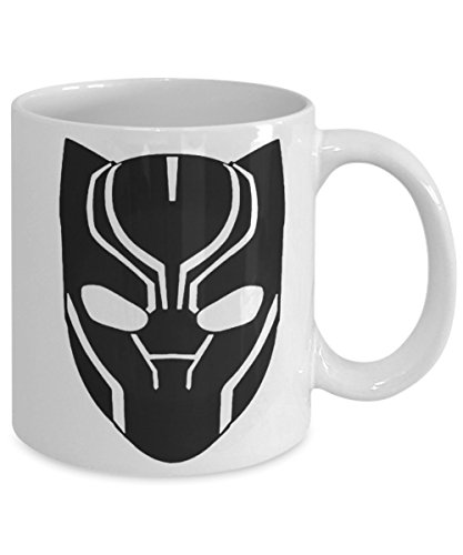 Black Panther Mask Mug - Cool Ceramic Coffee Mug for the World's Best Graphic Novel Black Panther Marvel Fans - Birthday Christmas Chanukah Comic Con