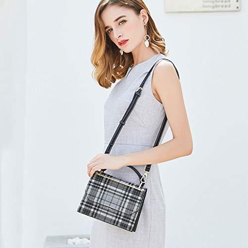 main sac Casual carré Messenger à petit mode de épaule sac la petit Bag Vérifiez Sac Brown PU femmes sac wZqOq8v