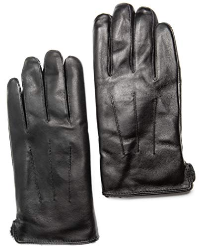 Men's Touchscreen Rabbit Fur Lined Leather Gloves, Gift Box by CANDOR AND CLASS (Black S) (Mens Rabbit Fur Lined Black Leather Gloves)