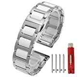 Ceramic Watch Band Replacement Stainless Steel Watch Bracelet Deployment Clasp Metal Watch Strap for Men Women 16mm/18mm/20mm/22mm (22mm, Silver+White)