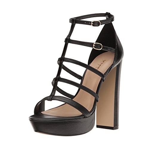 XYD Women Strappy Platform Sandals For Club Open Toe Dress Chunky High Heel Pump Shoes Black 2014 for sale 2XI0K6t