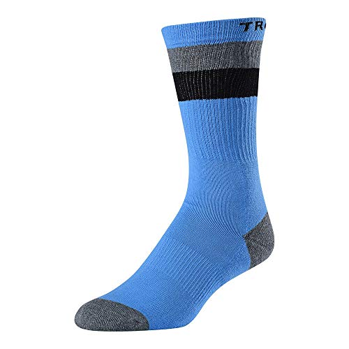 Troy Lee Designs Corsa Crew Sock woven strips & Troy Lee at top and Logo on bed (Ocean Blue/Heather Gray/Charcoal Gray, 10-13)