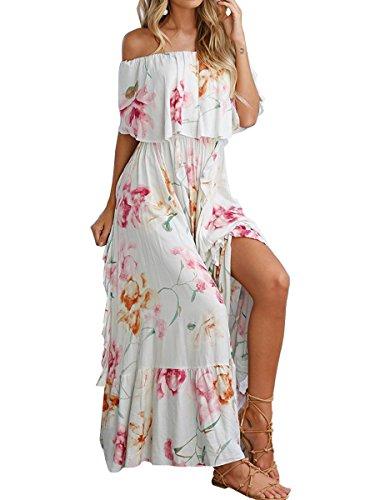 En Mode Ca Imprimé Floral Féminin Hors Robe Maxi Épaule