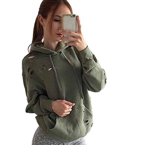 Price comparison product image AMA(TM) Women Casual Loose Hooded Sweatshirt Hoodie Pullover Tops Coat (Medium,  Army Green)