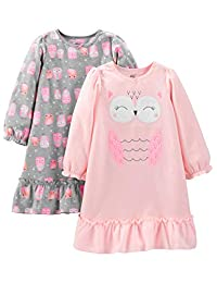 Simple Joys by Carter's Girls' Little Kid 2-Pack Fleece Nightgowns,