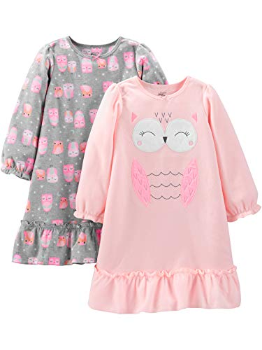 663d748fcc14 Simple Joys by Carter s Little Kid Girls  2-Pack Fleece Nightgowns ...