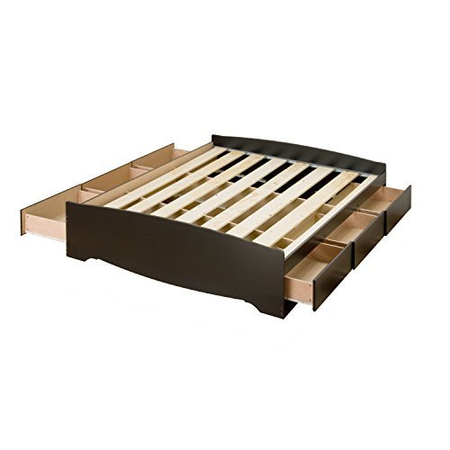 ioneyes black full mate??s platform storage bed with 6 drawers
