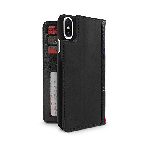 Twelve South BookBook for iPhone XS / iPhone X | 3-in-1 Leather Wallet Case, Display Stand and Removable Shell (Black)