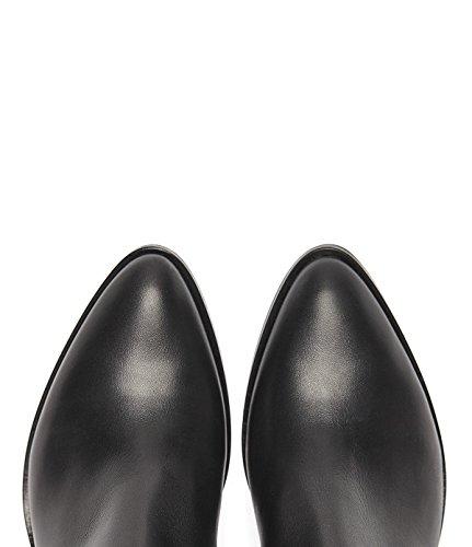PoiLei Svenja - chaussure femme / bottines en cuir à talon épais mi-haut - avec bout pointu / style western noir
