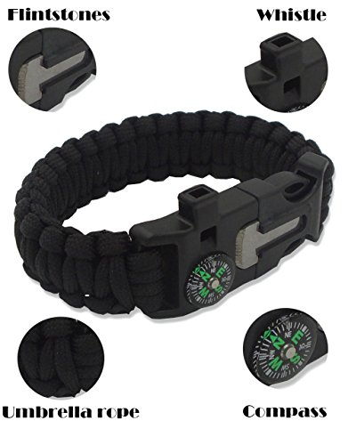 Outdoor-Survival-Bracelet-Emergency-Bracelets-The-ULTIMATE-Tactical-Survival-Gear-Flint-Fire-Starter-Whistle-Compass-ScraperKnife-BEST-Wilderness-Survival-Kit-For-CampingFishing-Mor-3PCS