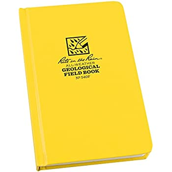 """Rite in the Rain All-Weather Hard Cover Notebook, 4 3/4"""" x 7 1/2"""", Yellow Cover, Geological Pattern (No. 540F)"""